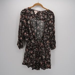 Mossimo Supply & Co. Floral Deep V-Neck Dress